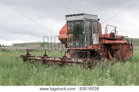 Deserted Broken Russian Soviet Red Harvester