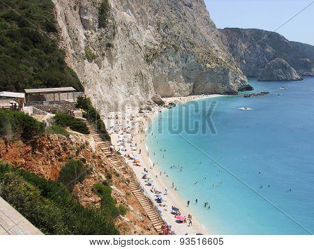 Beautiful beach Porto katsiki in Lefkada Greece. View from the top.