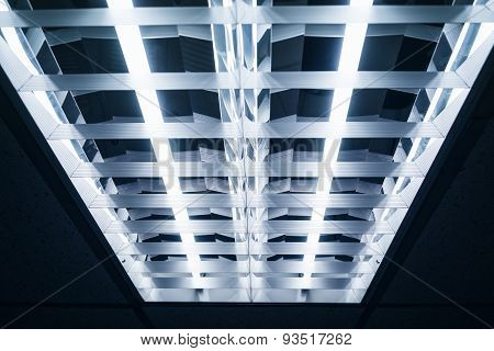 Neon Lights on Ceiling Close Up