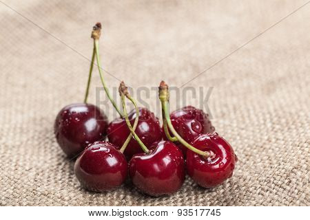 Ripe Juicy Cherry Closeup