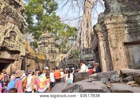 Tourists in Angkor Wat , Cambodia