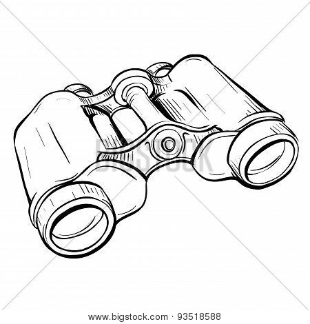 Vector Illustration Of Retro Military Binoculars In The Thumbnail Style