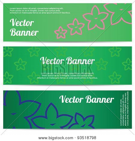 Vector abstract banner with flowers