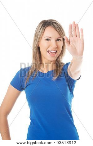 Angry woman gesturing stop sign.
