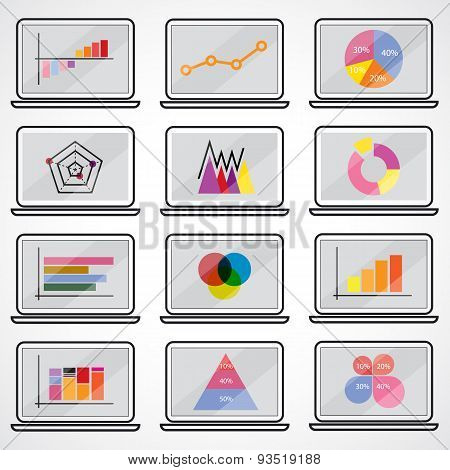 Business Data Market Elements Dot Bar Pie Charts Diagrams.graphs Flat Icons Set On Notebook.