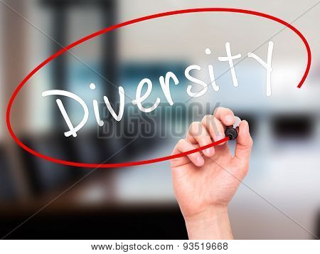 Man Hand writing Diversity with marker on transparent wipe board.