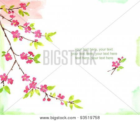 watercolor card with spring cherry blossoms and place for text