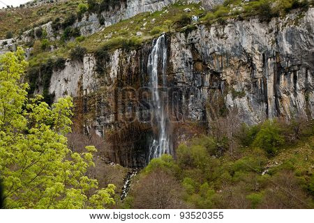 Asón waterfall in Cantabria, Spain.