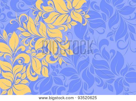 orange vintage floral pattern on blue