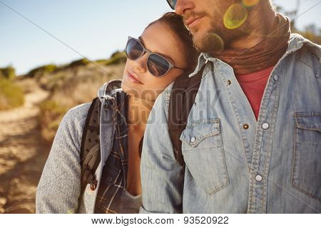 Young Couple In Love Outdoors On A Country Hike