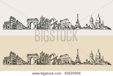 Paris France Vintage Engraved Illustration Sketch