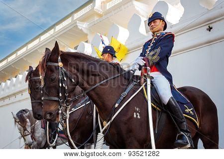 Thai Royal Horse Guards at Wat Phra Kaew in Bangkok
