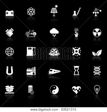 Renewable Energy Icons With Reflect On Black Background