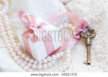 gift box and keys