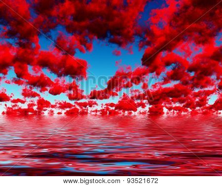 Deep Red Clouds and reflections