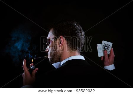 Poker Player With Two Aces And Cigarette