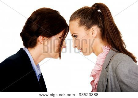 Two angry businesswomans standing face to face.