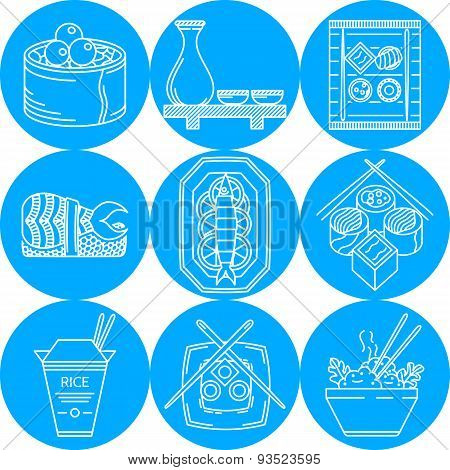 Asian food line vector icons