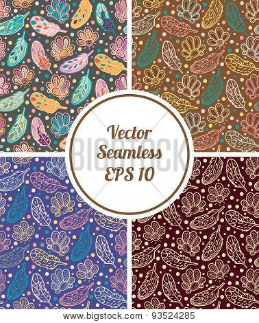 Vector Seamless Feathers Pattern. Set Of Four Different Backgrounds With Abstract Feathers And Flowe