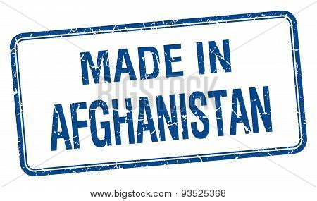 Made In Afghanistan Blue Square Isolated Stamp