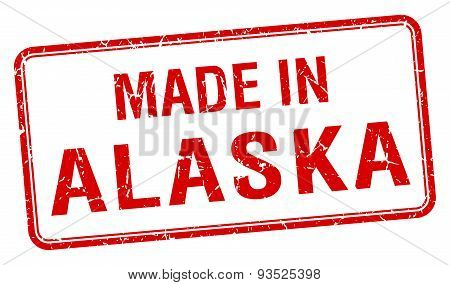 Made In Alaska Red Square Isolated Stamp