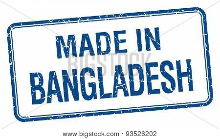 Made In Bangladesh Blue Square Isolated Stamp