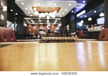 Table Top With Blurred Bar Interior Restaurant Cafe