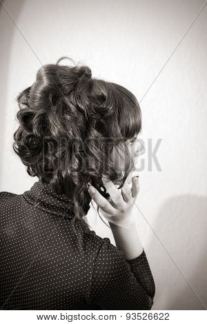 beautiful female hairstyle. back view