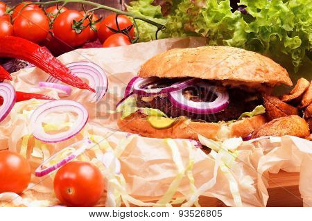 Delicious Homemade Burger With Fresh Vegetables And Beef.
