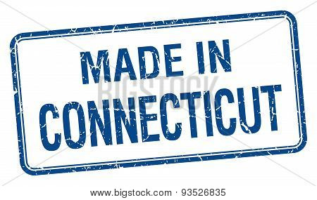 Made In Connecticut Blue Square Isolated Stamp