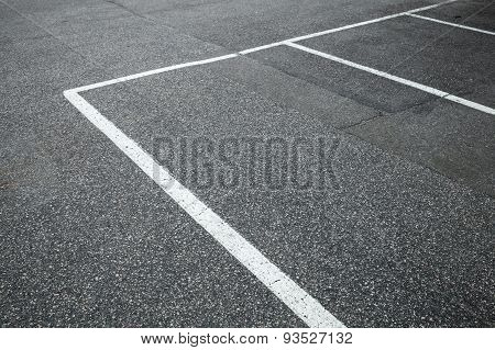 Empty Slots On Urban Parking Lot, White Marking