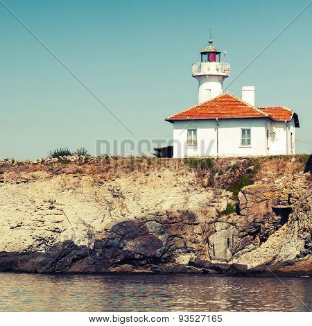 White Lighthouse Tower On St. Anastasia Island