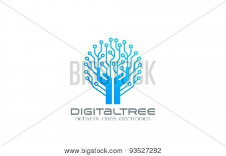 Digital Tree Logo Network technology business design vector template. Chip Electronics logotype concept. Circuit circle icon.