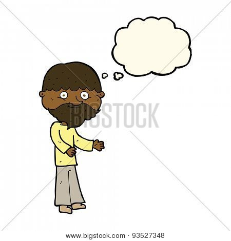 cartoon happy bearded man with thought bubble