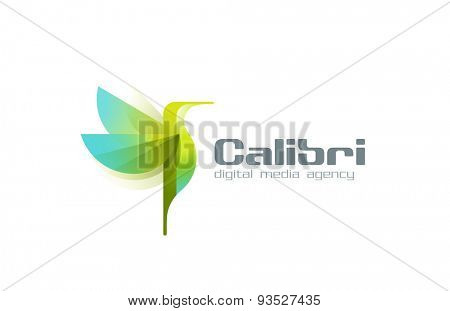 Hummingbird Logo abstract geometric bird design vector template. Humming bird creative style logotype icon.