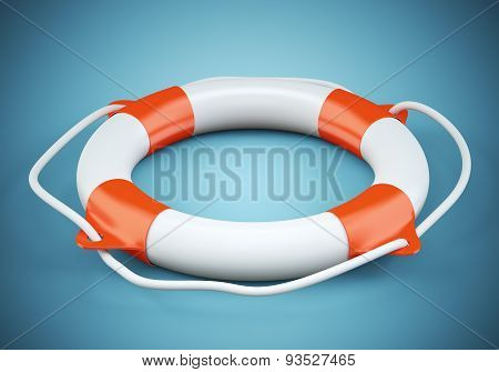 Lifebuoy On Dark Blue Background
