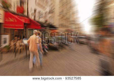 Abstract Background. Boulevard Montmartre In Paris - Radial Zoom Blur Effect