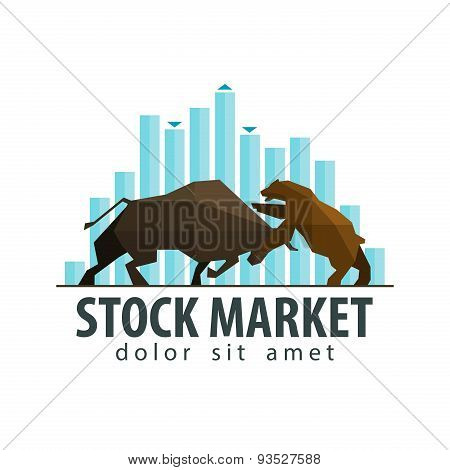 stock market, business vector logo design template. money, banking or bull and bear icon. flat illus
