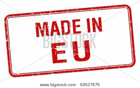Made In Eu Red Square Isolated Stamp
