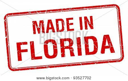 Made In Florida Red Square Isolated Stamp