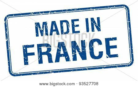 Made In France Blue Square Isolated Stamp