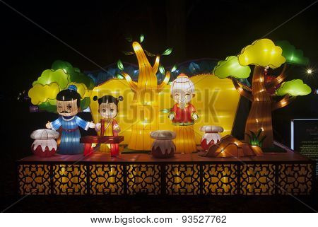 Chines art object by night