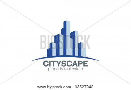 Real Estate Logo Buildings on the horizon design vector template. Cityscape Construction Realty Logotype. Skyscrapers Architecture icon.