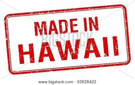 Made In Hawaii Red Square Isolated Stamp