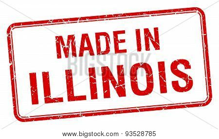 Made In Illinois Red Square Isolated Stamp