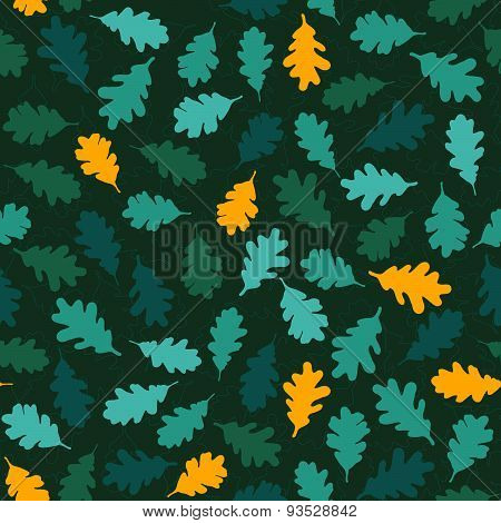 Seamless pattern with green oak leaves. Fall backdrop. 'Autumn soon' theme.