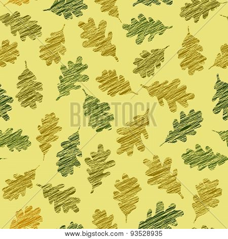 Seamless pattern with scratched oak leaves. Autumn texture.
