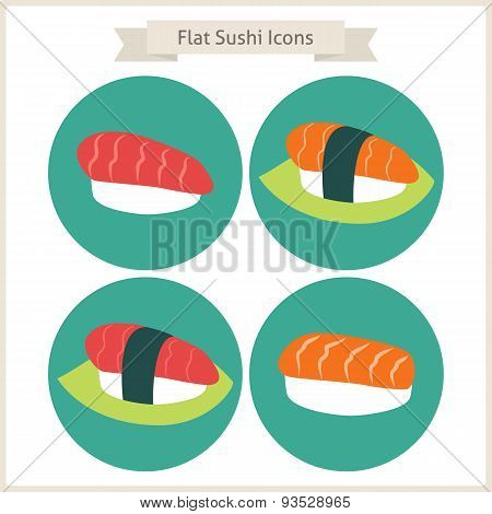 Flat Food Sushi Circle Icons Set