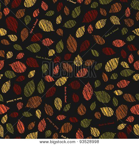 'Back to school'. Autumn texture with scraped leaves. Seamless pattern.