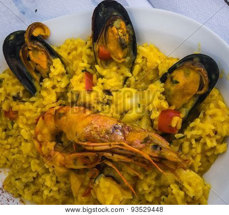 Seafood Risotto With Mussels And Shrimp